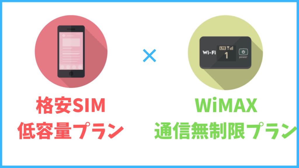 格安SIMの低容量プラン+WiMAXの併用が安くて通信無制限